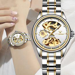 2019 relógio automático feminino 2019 Relógio de luxo feminino relógio mecânico automático senhoras de negócios relógios à prova d 'água oco rosa relógio mecânico para presente das mulheres relógio automático feminino barato