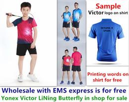 Deutschland Wholesale EMS für freies, Textdrucken für freies, neues Kindkindbadmintonhemd kleidet Sporthemd des Tischtennis T kleidet b027 Versorgung