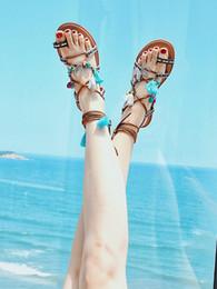 zapatos roma Rebajas Nuevo Vendaje Bohemio Flatforms Playa Roma Zapatos de boda Vacaciones de verano Sandalias del dedo del pie Zapatos nupciales Fiesta de noche Zapatos de mujer