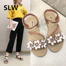 5be4cad170d Strappy sandals korean style tip binding Floral shoes woman Sweet Solid  soulier femme zomer schoenen Buckle Flower Casual peep discount korean  shoes style ...