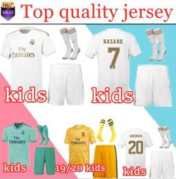 Camiseta de portero juvenil online-2019 Real Madrid Ea Sports Kids Kit Portero Camisetas de fútbol PELIGRO 2019 20 Local Blanco Visitante 3RD 4º Niño Niño Juvenil Modric Footbal