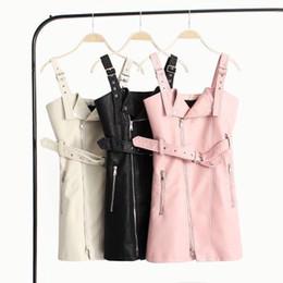 Bayan Günlük Elbiseler Fermuar Kemer Moda Seksi Kulübü Elbiseler için Bayan Dikiş Deri PU Etek Kayışı Bodycon Sleeveles Giyim Pembe Siyah supplier ladies black dress belt nereden bayanlar siyah elbise kemeri tedarikçiler