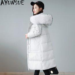 Jaqueta tamanho grande mulheres coreanas on-line-Feminino AYUNSUE jaqueta de inverno coreano Plus Size Down Jacket Mulheres Big Fur Womens gola do casaco Sobretudo Parkas Mujer 2019 KJ433