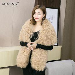 Bufanda de cordero online-MS.MinShu Mongolian Lamb Hair Robó Wrap de Piel Real con Mangas Mujeres Poncho Moda Tibet Cordero de Piel Bufanda Grande envío de la gota