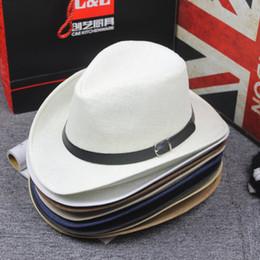 sombrero de vaquero de paja de papel Rebajas Verano de papel de paja del jazz del sombrero casquillo ocasional occidentales sombreros de vaquero con la hebilla del cinturón de la banda ancha de viaje ala Gorra para el sol sombrero de la playa de los hombres de las mujeres
