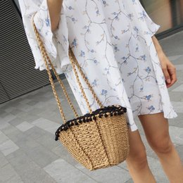 2019 bolso de paja de playa con cordón Mujeres calientes Lady Girl Straw Shoulder Bag Woven Drawstring Vintage para viajes Beach Holiday BVN66 rebajas bolso de paja de playa con cordón
