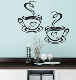 2019 tienda hermosa Tazas de café dobles Pegatinas de pared Diseño hermoso Tazas de té Cocina Cafetería Arte Murales de vinilo Decoración tienda hermosa baratos