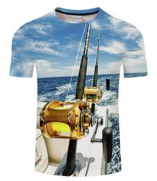 Newest Fashion Fishman T-Shirt Fish Boat Landscape 3D Printed Women Men  Summer Short Sleeve Unisex T-shirt Casual Tops 3D T-Shirt K675