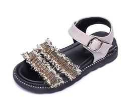 2019 Sandali eleganti estivi per bambini Scarpe per bambini di nuova concezione Scarpe antiscivolo per ragazze glitterate da tacchi colorati fornitori