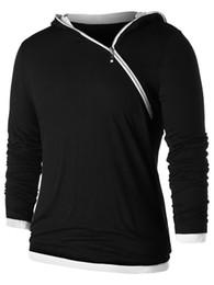 Cappuccio asimmetrico online-Hemiks Men Asymmetric Zip Colast Colour Colour Hoodie Spring Pullover manica lunga Casual Fashion Streetwear da uomo con cappuccio