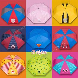 Gear girls en Ligne-Parapluie de bande dessinée pour les enfants Belle impression Parapluie pliant 21 Dessins Filles Garçons Superman Lapin Lion UV-parapluie Sun Rain Gear 8K * 53.5cm