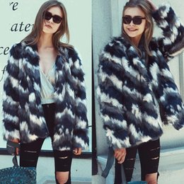 cd8f2b7c409 2018 The New Multicolor Fashion Striped Faux Fur Medium And Long Coatautumn  And Winter Street Hipster Female Popular Coat