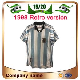 Аргентинская футбольная команда джерси онлайн-1998 Retro version Argentina Home Soccer Shirt 1997/1998 Аргентина Батистута с коротким рукавом футбол Джерси национальная сборная настроить униформу