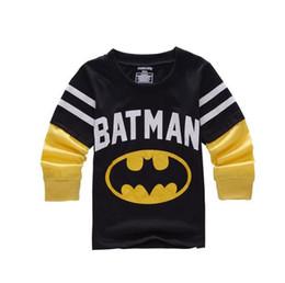 Мальчики Рубашки Bat Man Дизайнер одежды Мода печати Хлопок Тис малышей Детские Супермена с длинным рукавом Футболки Марка от
