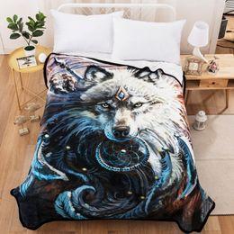 Double 3d Husky Blanket Animal Soft Printed Fleece Sofa Couch Throw Bedroom Home Décor Home & Garden