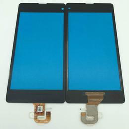 Telefono cellulare z1 online-Vetro frontale temprato Vetro con cavo flex touch per Sony Z1 mini digitalizzatore sostituzione pannello touch screen per la riparazione del telefono cellulare