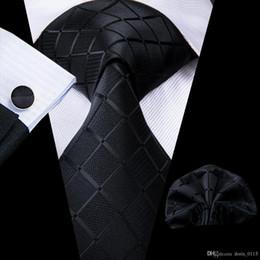 Oi-Tie New Designer Manta preta de seda gravatas para que homens Jacquard wowen Laço Lenços Abotoaduras Set para o casamento Negócios N-1758 de