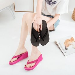 shoes flat feet men Coupons - Zapatos mujer 2019 Women's Solid Color Non-Slip Feet Flip-Flops High-Heeled Wedges Beach Sandals shoes woman slippers 40