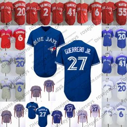 98ca59f97 2019 Blue Jersey #13 Lourdes Gurriel Jr. Jays 15 Randal Grichuk 41 Aaron  Sanchez 66 Bo Bichette Toronto Men Women Youth Kid White