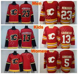 Camisetas del equipo de hockey juvenil online-Hombres Mujeres Jóvenes Johnny Gaudreau Jersey 13 Calgary Flames Hockey sobre hielo Hombre Dama Niños 23 Sean Monahan 5 Mark Giordano Equipo Color Rojo