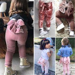 2019 Moda Toddler Bambini Neonate Bowknot Bottoms Pleuche Cute Long Pants Leggings Spring Autumn Clothes da