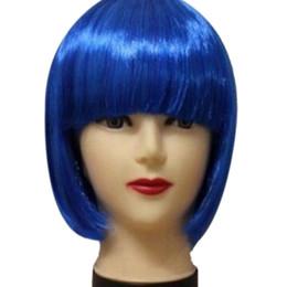 Perruque droite en Ligne-Nouvelles femmes courtes perruque de cheveux BOB droite Bangs Cosplay Party Show de la scène 13 couleurs Halloween Chapeaux de fête perruque de couleur