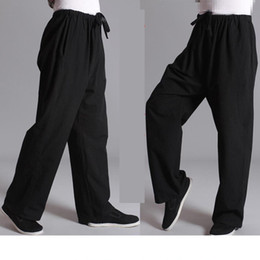 Tuta maschile online-Chinese Traditional Tai Chi per il tempo libero pantaloni pantaloni sportivi Practice Vecchio grossolana Maschio Tang-suit traspirante Pantalone