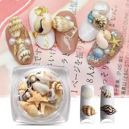 Красота ногтей поле онлайн-1 Box Natural Nail Art 3D Decoration Mini Conch Shells Starfish Sea Beach Ornaments DIY Manicure Nail Art Decor Beauty Accessory