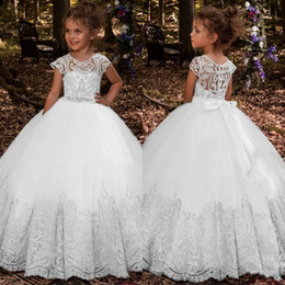 toddler girl christmas shirts Promo Codes - Lace Princess Flower Girl Dresses 2019 Ball Gown First Communion Dresses For Girls Sleeveless Tulle Toddler Pageant Dresses