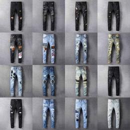 calientes grandes caderas negras Rebajas 2020 Amiri para hombre apenado de rasgado del motorista de la motocicleta Jeans Slim Fit Denim para los hombres de moda Hip Hop Diseñador hombre Pantalones Buena ropa de calidad