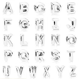 Letras del alfabeto pandora online-2018 Invierno Nuevo Auténtico Plata de Ley 925 Alfabeto Vintage A-Z 26 Letras Grano Encanto Fit Pandora Pulsera Brazalete Joyería DIY