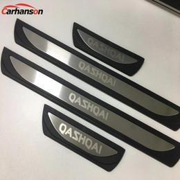 Adesivo de nissan on-line-Acessórios Para Nissan Qashqai J11 2015 2017 2019 Aço Plástico Guarnição Peitoril Da Guarnição Scuff Plate Protector Protector Styling Etiqueta Do Carro