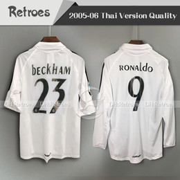 c9c85c4f3 2005 2006 Real Madrid Retro Soccer Jerseys Benzema ASENSIO Zidane RONALDO  Beckham 05 06 Real Madrid Honme Long sleeve football shirt
