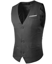 Falso chaleco de bolsillo para hombre sin mangas de color a juego de diseño de un solo cinturón de algodón de corte slim para hombre chaleco envío gratis fiesta de negocios desde fabricantes