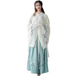 2019 trajes de baile para mujeres Nueva llegada Hanfu para mujer bordado verde traje de baile tradicional escenario desgaste vestido folklórico Oriental Festival Outfit DC1846 trajes de baile para mujeres baratos