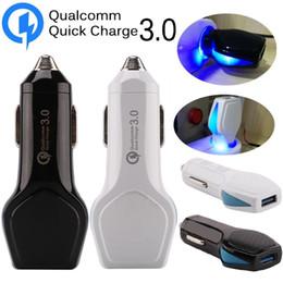 Carregador de tablet 12v on-line-Quick Charge QC carregador de 3,0 Car 5V 2.4A 9V 2A 12V 1.6A levou luz Carregadores de carro soquete para HTC Samsung S8 s10 gps tablet pc com caixa de varejo