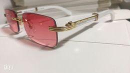 Солнцезащитные очки лучшего качества онлайн-Квадратные очки Buffalo Horn пластиковые стеклянные деревянные ножки Солнцезащитные очки Дизайнер Лучшее качество золотых деревянных бамбуковых оправ без оправы очки с коробкой