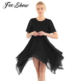 2020 vestido clásico elegante de las mujeres 2019 elegante Tutu Adulto Mujeres Ballet Dance Dress cuello redondo de gasa asimétrico trajes de danza moderna de vestir color sólido Classic rebajas vestido clásico elegante de las mujeres