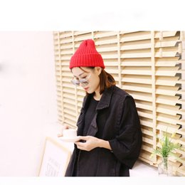 Womens Winter Warm Candy Colors Manga tejida Hat Plus Velvet Wooly Cap Soft Black, Grey, Navy, Purple, Red, Yellow Color desde fabricantes