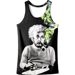 2019 verde de d camiseta 2019 Verão Nova Chegada 3-d Einstein Verde Tabaco Impresso Vest 3-d Homens Sem Mangas T-shirt Dos Homens Top De Tanque Frete Grátis verde de d camiseta barato