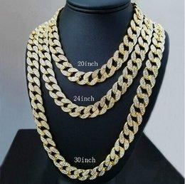 Glacé sur Bling Rhinestone Crystal Goldgen Finition Miami Collier cubain Chaîne Hip Hop Collier Hommes Bijoux 20, 24, 30, 36 pouces ? partir de fabricateur