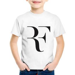Stampa di moda Roger Federer RF Art T-shirt bambini Bambini Federer Estate Tees Ragazzi / Ragazze Casual Grandi Tute Abbigliamento bambino, HKP286 da