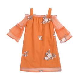 Laranja tutu vestido meninas verão on-line-Verão criança crianças bebê meninas vestido floral princesa partido tutu vestidos roupas laranja casual casual