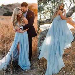 Canada Sexy robes de soirée de fiançailles pour les femmes spaghetti sangle dos nu haute fente une ligne tribunal train ciel bleu Tulle Boho robe de soirée Offre