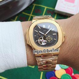 ver texturas Rebajas Nuevo clásico 5712 Amarillo Oro Negro Textura Dial Miyota 82S7 Tourbillon automático Reloj para hombre Relojes de acero inoxidable 9 estilos PB314e5