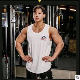 stelle uomini serbatoio superiore Sconti Fashion Stars Stampa Bodybuilding Stringer Tank Top uomo Gyms Stringer Shirt Fitness Canottiera Uomo Abbigliamento Lettere Gilet