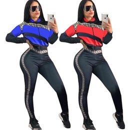 fffe34a3e8240 Chaqueta de rayas + Pantalones Chándal 2019 Carta de diseñador Trajes de  manga larga Mujeres Trandy Brand Club Wear Traje deportivo Joggers A21505
