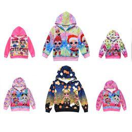 hoodies azuis do golfinho Desconto 7color meninas série de Natal Roupa Cartoon Doll Camisas desportivas T-shirt da menina t-shirt longos da luva das crianças das crianças das camisolas dos Tops Camisola