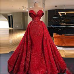 abiti rossi lucidi per prom Sconti Shiny Red overskirts Prom Dresses Sweetheart abito da sera Mermaid posteriore della chiusura lampo vestidos da sposa taglie forti abiti partito della celebrità