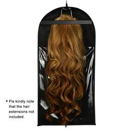 Schwarze beutelhaarverlängerung online-1 Set Schwarzes Haarverlängerungsträger-Aufbewahrungstasche - Anzugtasche und Kleiderbügel, Perücke steht Haarverlängerungen Kleiderbügel Styling-Zubehör